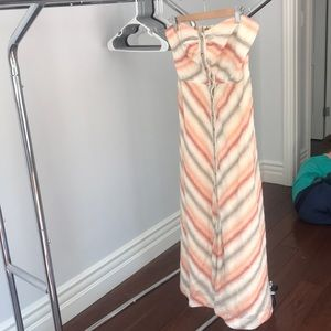 Strapless linen striped dress